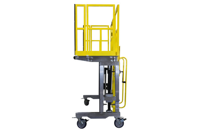 OSHA compliant mobile, lightweight aluminum work platform with height adjustability up to eight feet and a ladder that self-stows on the platform.