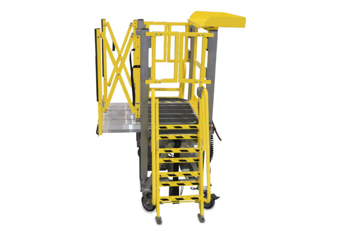 OSHA compliant, portable, custom aluminum work platform uses accordion guardrails that extend to expand protection with deck extensions or over the article itself for overreach and conformance.