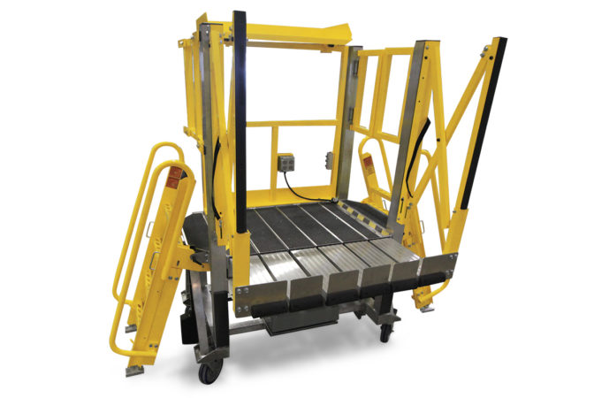OSHA compliant, mobile, custom work stand with automatic locking slider deck extensions that extend individually to provide seamless conformance to any contour and include toe boards for added fall protection.