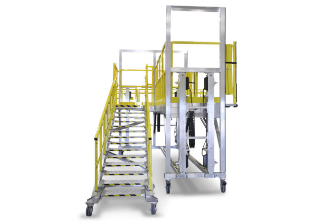 OSHA compliant electric actuated aluminum work platform with adjustable stair that maintains equal step distance at any height for reduced trip hazard.