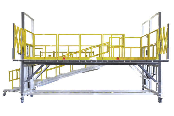 OSHA compliant mobile, electric powered height adjustable work stand with completely custom guardrails, 4-side protection or 3-side protection allowing for open access toward the article.