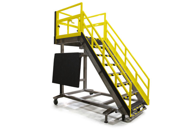 Customizable OSHA compliant, portable stair work stand with optional upgrades for improved ergonomics and safety.