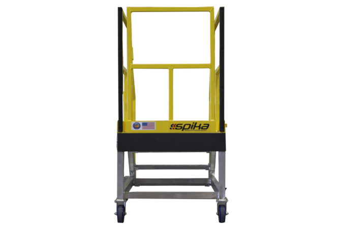 OSHA compliant, mobile aluminum work stair stand with mechanically attached foam to personnel and assets from damage and provide 100% fall protection.