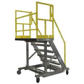 OSHA compliant, portable, aluminum work stair stand with completely custom guardrails, 4-side fall protection or 3-side fall protection allowing open access toward the equipment.