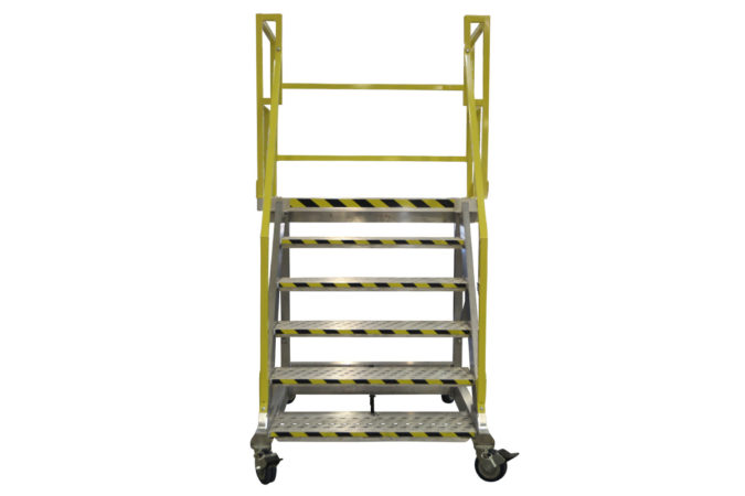 OSHA compliant, portable aluminum stair work stand with customized stair landing size and shape for 100% fall protection.