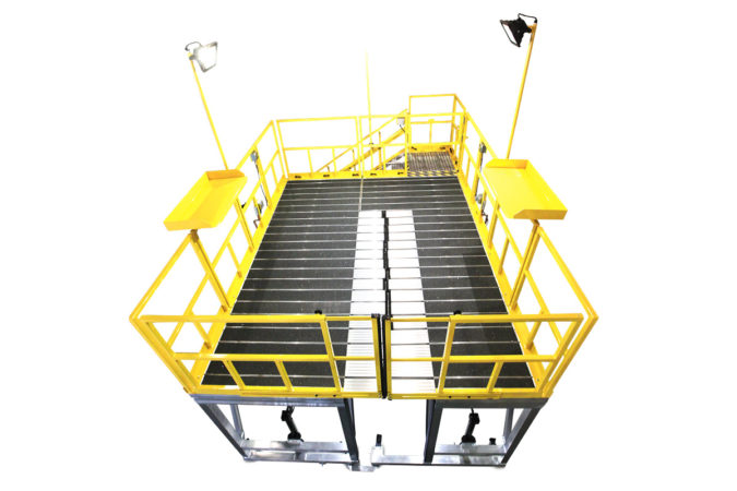 OSHA compliant aluminum work stands with full-length access and wrap-around access for ground transportation fleet maintenance or aviation maintenance stands.