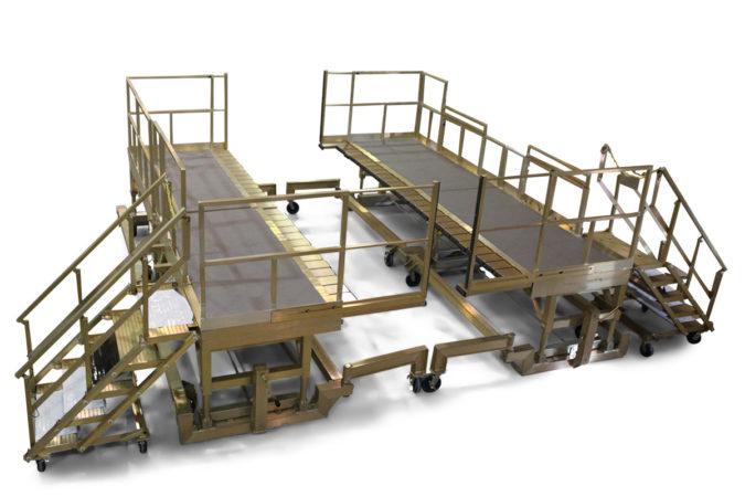 OSHA compliant aluminum work platforms with options for environmental restrictions such as electric static discharge, ESD, clean room, vacuum chamber and explosion risk.