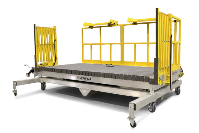 OSHA compliant custom mobile aluminum work stand with detachable stairs, on-deck laptop and tool trays. Deck extensions retract for compact storage when not in use.