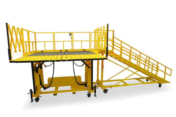 OSHA compliant portable aluminum work stand with automatic locking slider decks that extend individually to provide seamless conformance to any contour while providing protection from falls or damage.