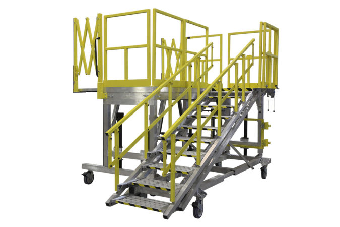 OSHA compliant mobile check stand with height adjustability for helicopter maintenance.