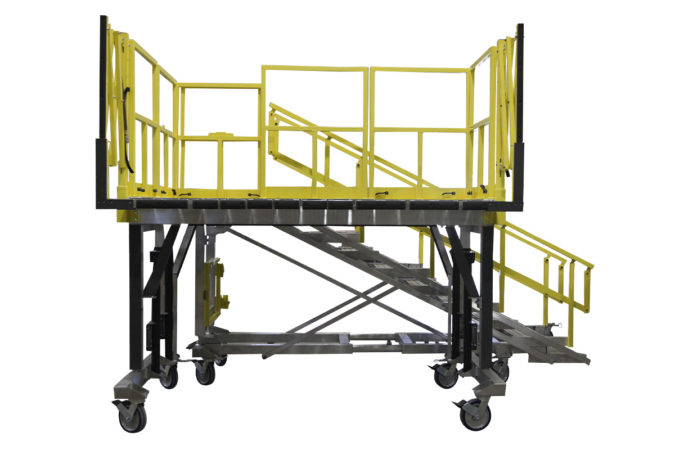 OSHA compliant portable maintenance stand for apache helicopter rotor access for helicopter maintenance.