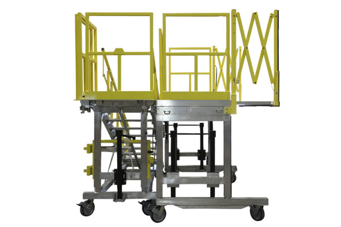 OSHA compliant mobile H64 helicopter maintenance stand mobile lightweight for helicopter maintenance.