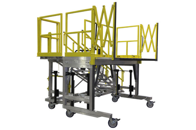 OSHA compliant mobile full h-60 maintenance platform height adjustable for helicopter maintenance.