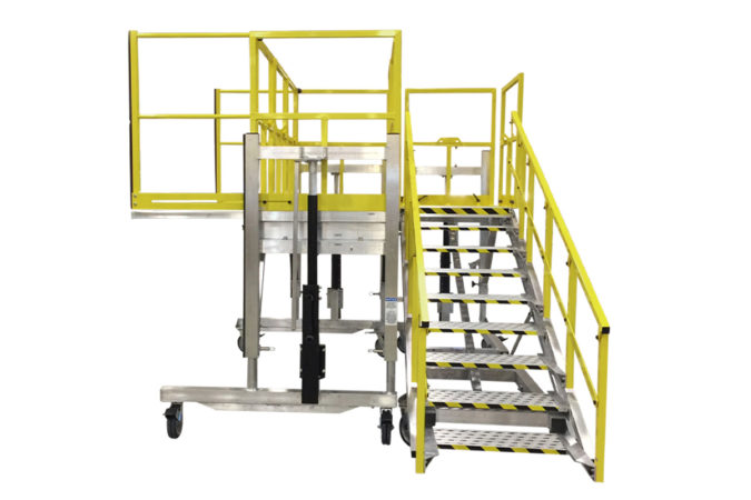 OSHA compliant aluminum work platform with custom adjustable telescopic and accordion guardrails that extend to expand protection with deck extensions for overreach or cantilevered positions when working.