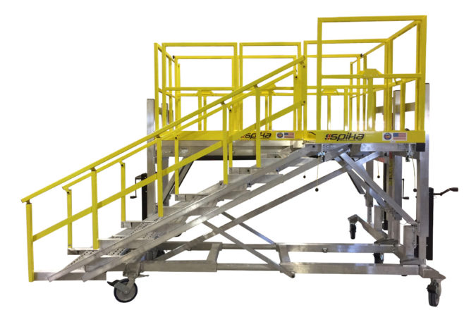 OSHA compliant, portable, height adjustable aluminum work stand with adjustable stairs which attach at multiple points to the platform quickly and easily without tools, from the safety of the ground.
