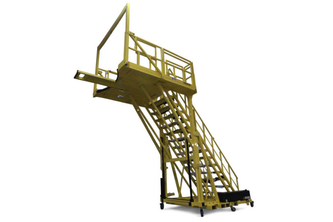 OSHA compliant, custom aerospace mobile stair platform with adjustable prone access, custom deck shape with tie-off, allows workers to work over obstacle with 100% fall protection