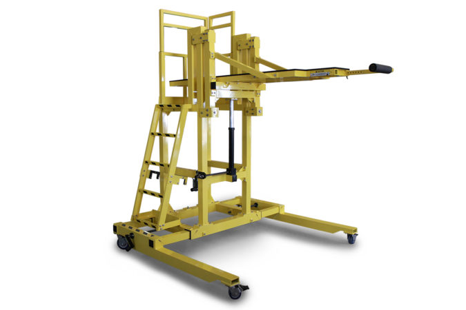 OSHA compliant, custom mobile work platform, telescopic expanding base expands for increased stability, height adjustable, technician's diving board extends and retracts as needed, allows workers to work in recumbent position