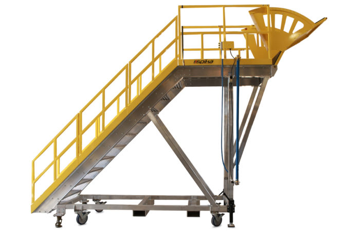 OSHA compliant, custom mobile stair platform with adjustable semi-prone access, allows workers to work over obstacle with 100% fall protection