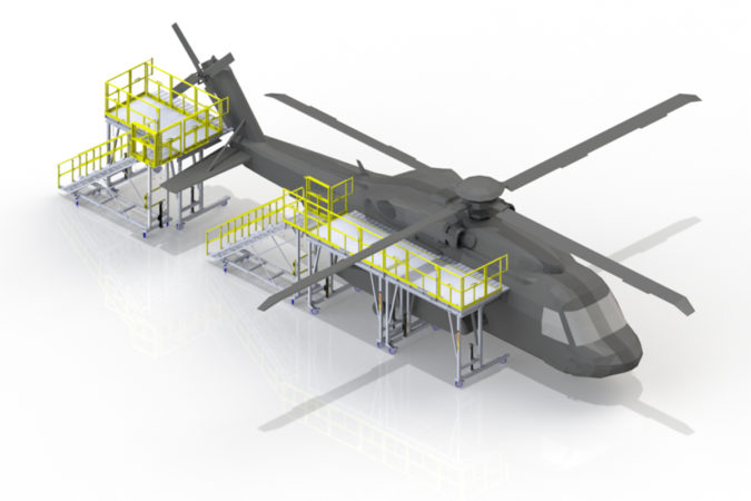 OSHA compliant portable reconfigurable easy to move S-92 stand for fuselage and tail rotor for helicopter maintenance.