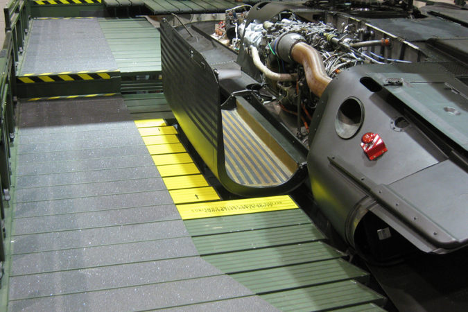 OSHA compliant portable slider deck conforming to h-60 for helicopter maintenance.