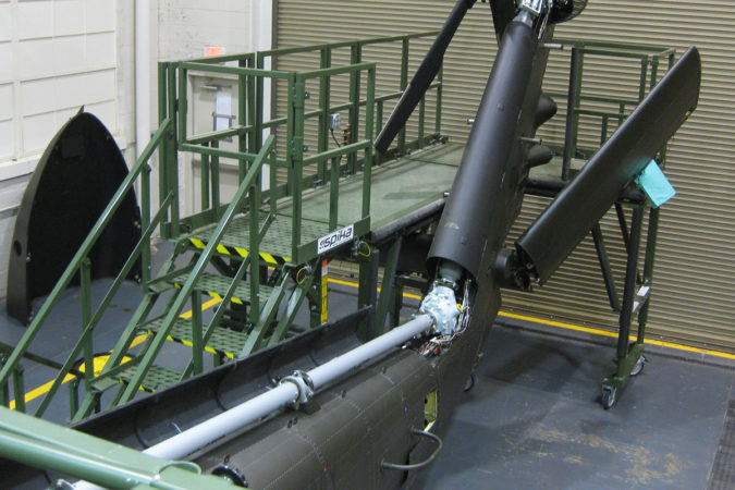 OSHA compliant mobile h-60 trainer tail rotor stand for helicopter maintenance.