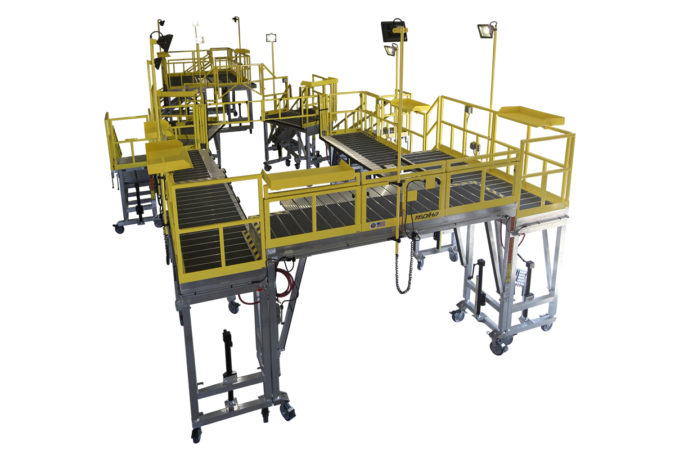 OSHA compliant mobile phase maintenance H-60 stand with lights for helicopter maintenance.