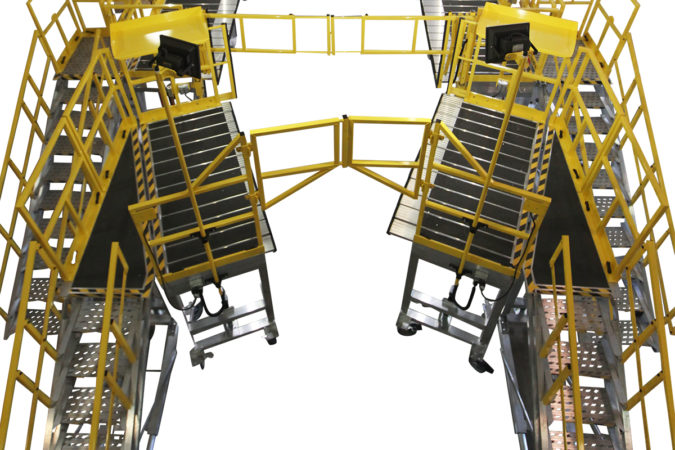 OSHA compliant portable H60 fuselage stands for helicopter maintenance.
