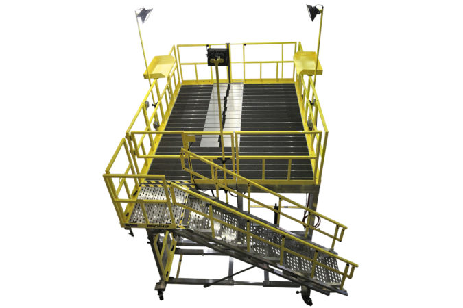 OSHA compliant mobile h-60 tail rotor maintenance stands for helicopter maintenance.