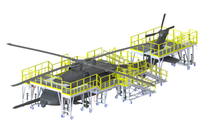 OSHA compliant mobile wrap-around H-60 maintenance stand for helicopter maintenance.