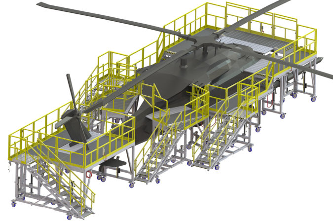 OSHA compliant portable H-60 work stand for fuselage and tail for helicopter maintenance.