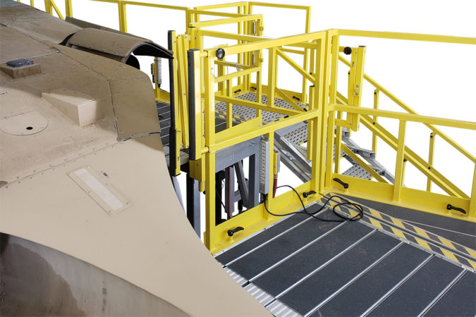 OSHA compliant mobile uh-60 full maintenance stand with removable rails for helicopter maintenance.