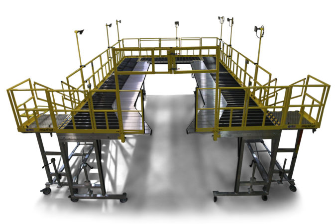 OSHA compliant mobile height adjustable h-60 work stands for helicopter maintenance.