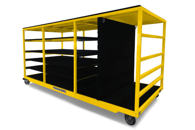 Spika's helicopter maintenance cowling racks are carpet covered and store a variety of helicopter components safely and securely.