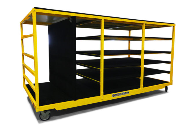 Spika's helicopter maintenance cowling racks are carpet covered and store a variety of helicopter components safely and securely and the vertical position relocates to one of three positions for larger items.
