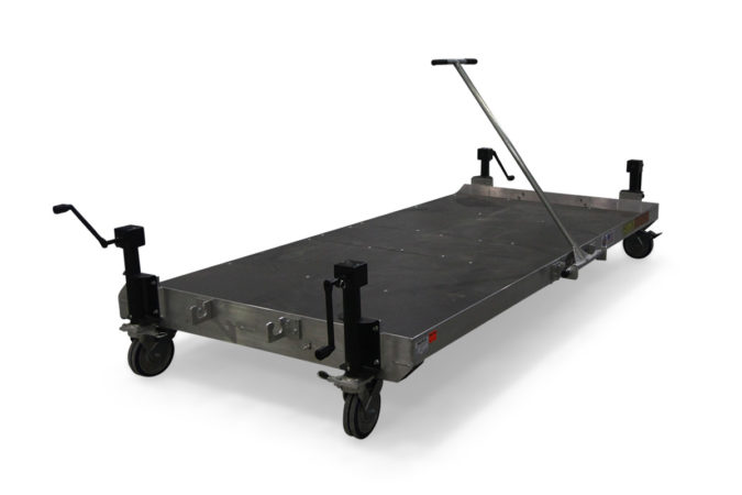 Helicopter maintenance aluminum transfer cart with removable tow bar that attaches in multiple locations.