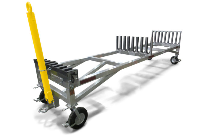 Helicopter maintenance blade rack with telescopic base extends 20' to accommodate up to 28' (8.5 m) blades.