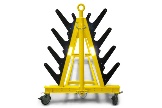 Helicopter maintenance blade racks with removable tow bar.