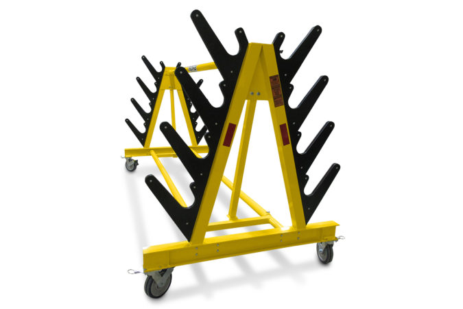 Helicopter maintenance blade racks with Polypropylene-lined supports to safely secure multiple blades.