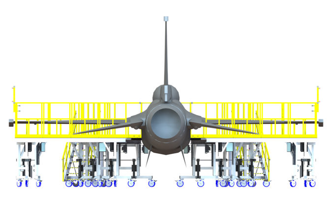OSHA compliant aluminum mobile aircraft maintenance wrap-around phase system for the F15, F16 and F18 fighter jets.