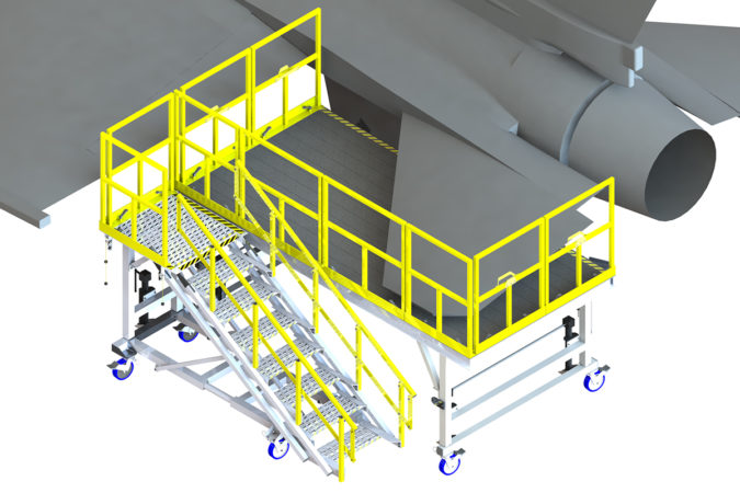 OSHA compliant aluminum mobile aircraft maintenance universal tail system capable of being used either side for the F-15, F-16 and F-18 fighter jets
