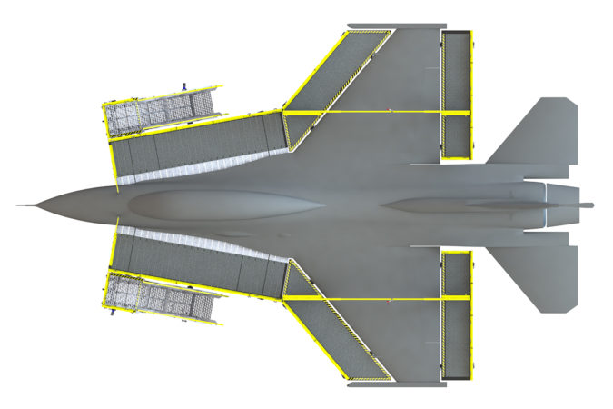OSHA compliant aluminum mobile aircraft maintenance wrap-around phase system for the F-15, F-16 and F-18 fighter jets.