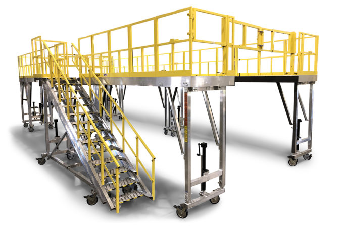 OSHA compliant mobile lightweight wrap-around fleet maintenance work platforms that are height adjustable for quick setup, virtually maintenance free and provide 100% fall protection.