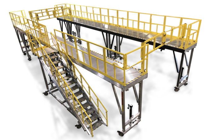 OSHA compliant fleet maintenance work platforms with customize decks and added extensions to conform to vehicles such as a bus, train or tactical or heavy vehicles.
