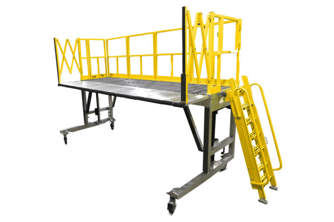 OSHA compliant, mobile aluminum fleet maintenance work platforms with adjustable height for quick set up and telescopic or accordion guardrails for 100% fall prevention.