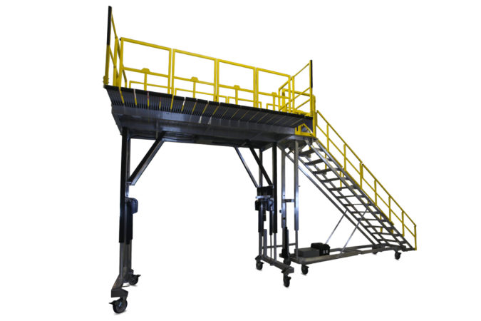 OSHA compliant, mobile aluminum fleet maintenance work stands with optional deck extensions sliders for 100% conformance and extended overreach while working on buses, trains, tactical or heavy vehicles.