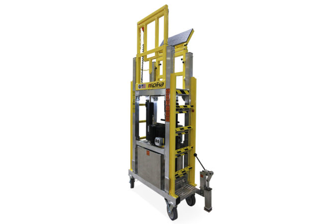 OSHA compliant portable, battery powered, adjustable height, semi-prone, aluminum work stand with extensions to work over sensitive data center server racks.