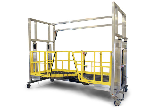 OSHA compliant mobile round work platform with height adjustability