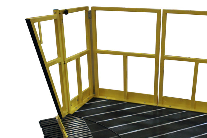 OSHA compliant angled and articulating angled guardrails for aluminum work platforms.
