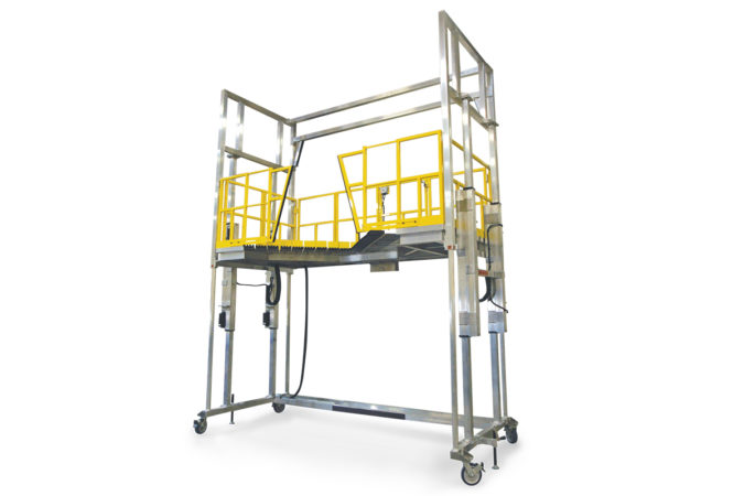 OSHA compliant mobile aluminum height adjustable work platform that conforms to round objects.